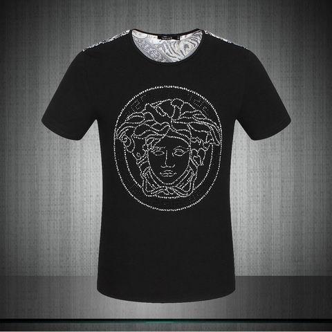 t shirt versace homme noir. T Shirt Versace Col Rond Manches Courtes Homme  Noir 0018 03a0c2d63c0